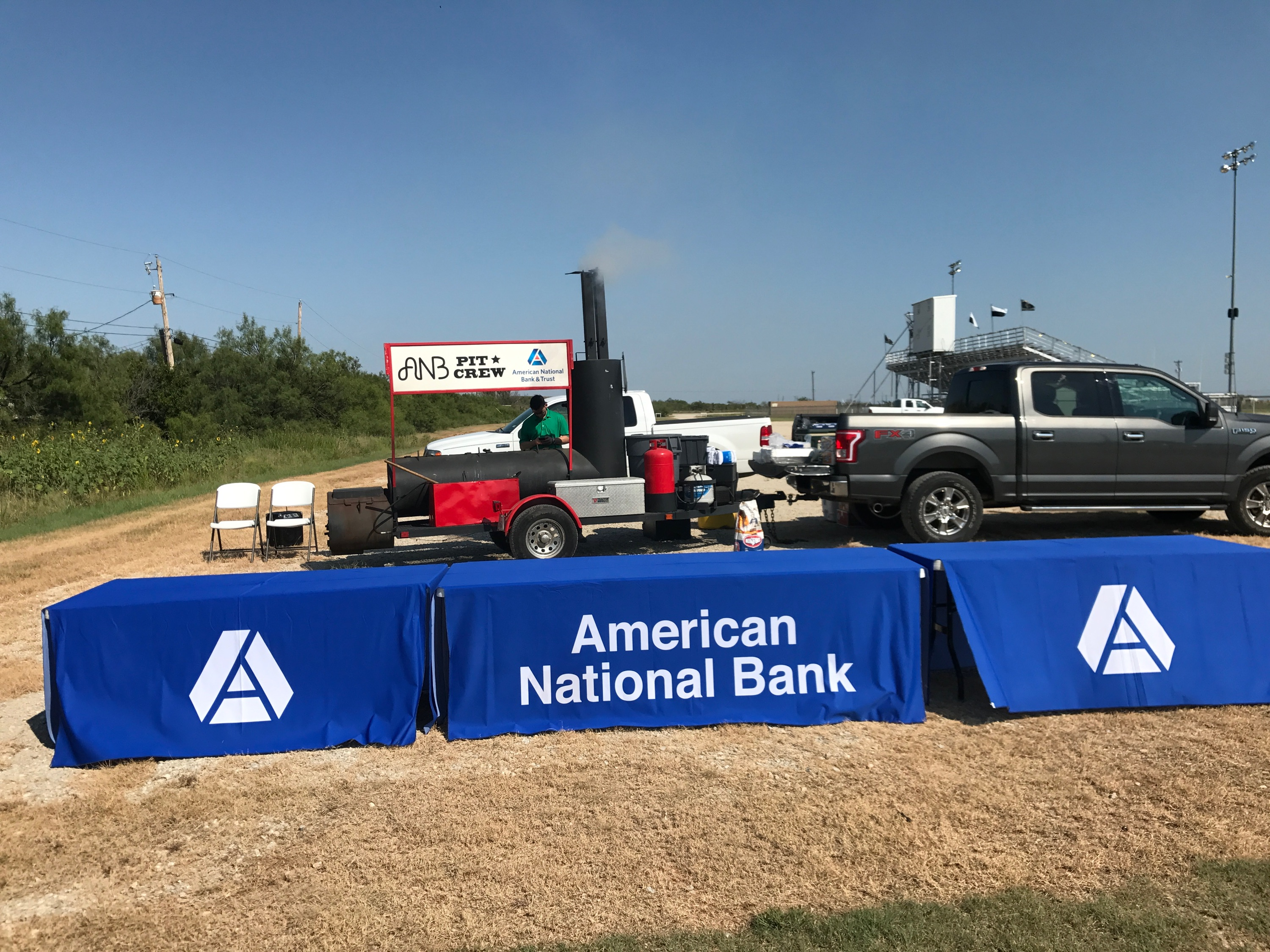 Tables set up for ANB Pit Crew Cook Out