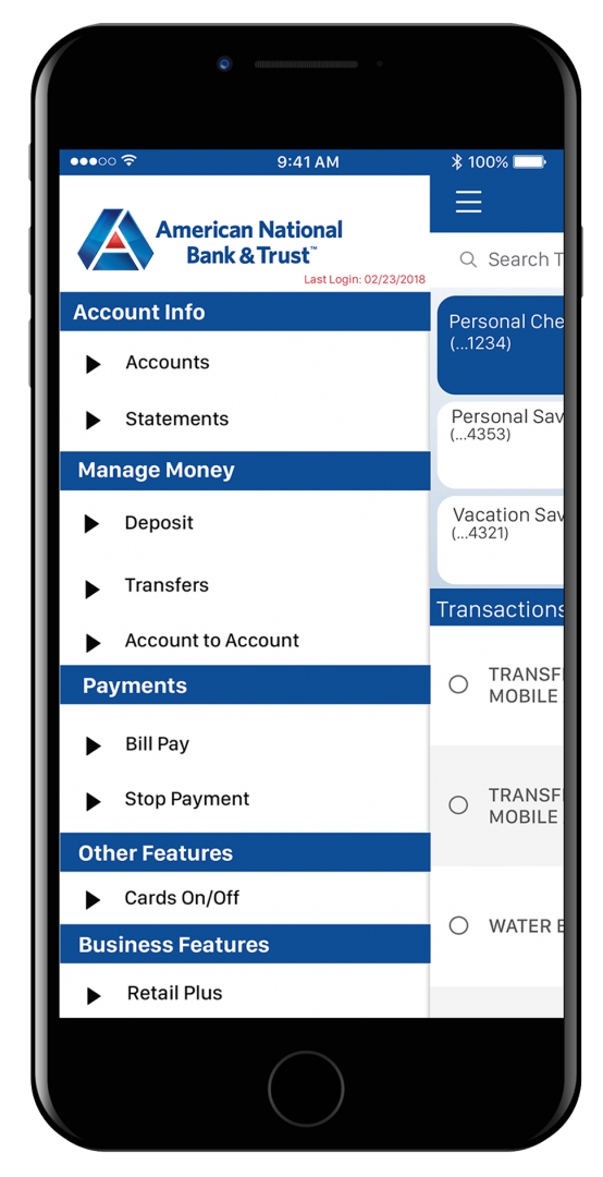 example of banking page