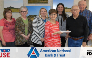 Quanah Branch employees presenting donation check to Quanah Meals on Wheels.