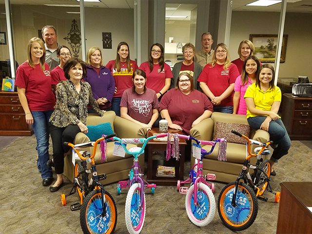 Our Mortgage Divison with bikes for Operation Santa Claus